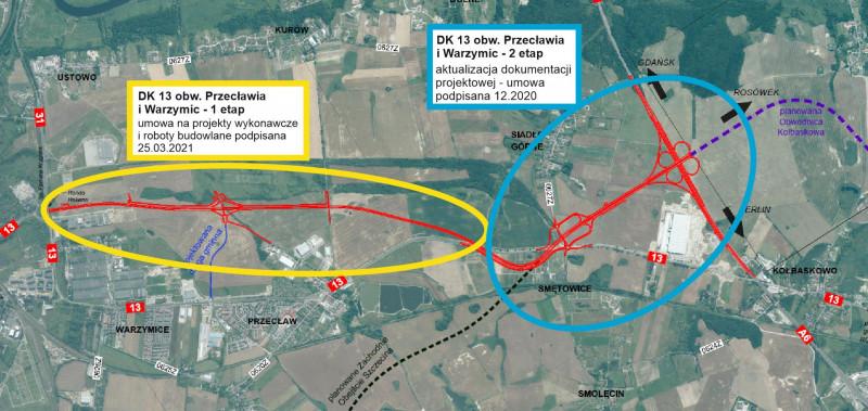 Mapa projektowanej obwodnicy